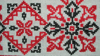 Detail of floral border pattern in cotton. Tea cloth (small tablecloth), Hungary, mid-twentieth century